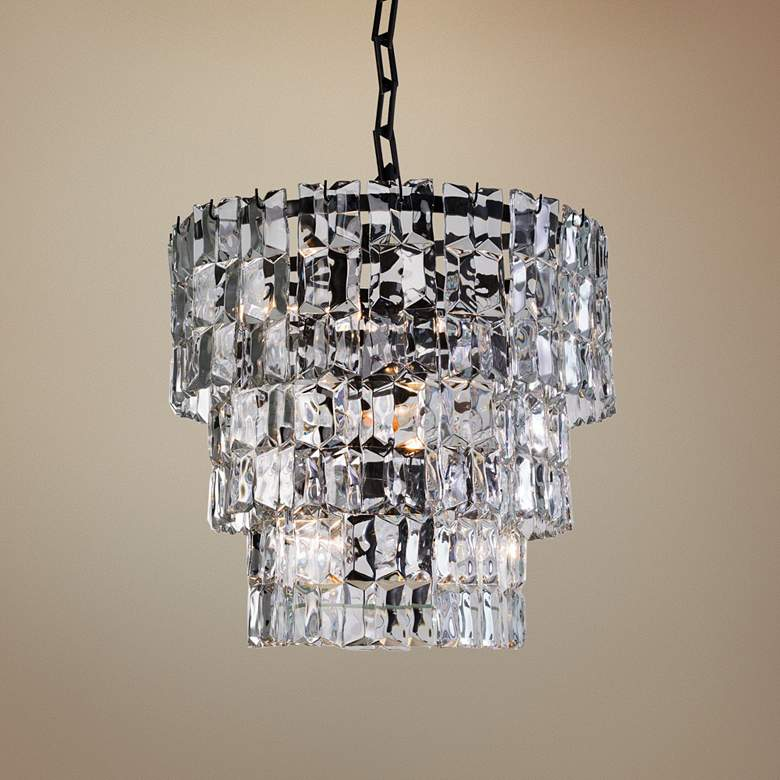"Global Views Prism 25""W Bronze 3-Tier Glass Pendant"