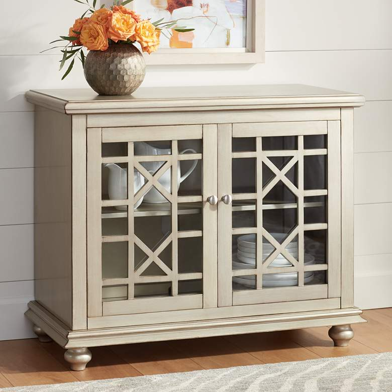 "Gloria 38"" Wide 2-Door Champagne Finish Accent Cabinet"
