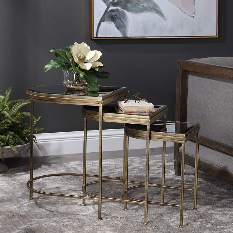 "India 19"" Wide Antique Brushed Gold Nesting Tables Set of 3"