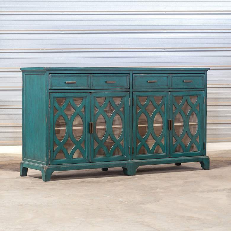 Uttermost Oksana Antique Green 4-Door Wood Credenza