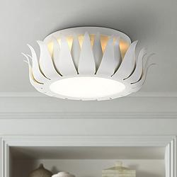 "Crystorama Broche 16"" Wide Floral Matte White Ceiling Light"