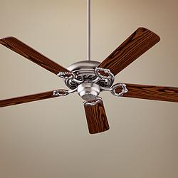 "52"" Quorum Monticello Satin Nickel - Dark Oak Ceiling Fan"