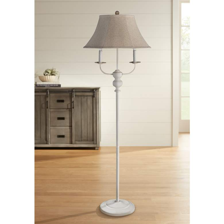 Bayfield White 3-Light Candelabra Arm Floor Lamp