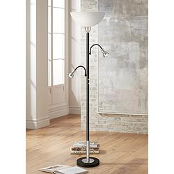Hawthorne Torchiere Floor Lamp with Gooseneck Side Lights