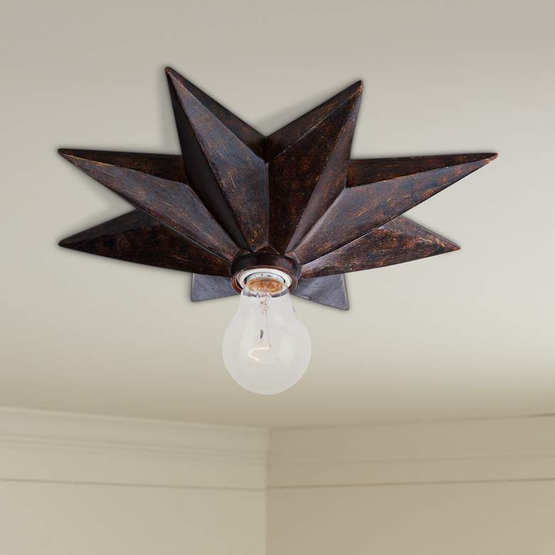 "Crystorama Astro 12""W English Bronze Starburst Ceiling Light"
