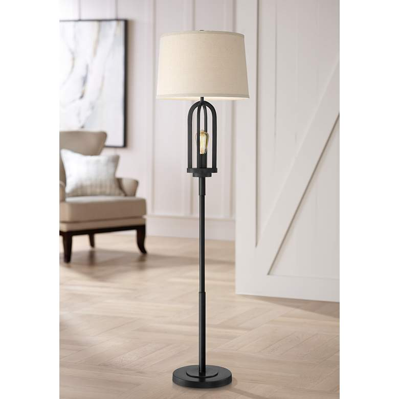 Marcel Black Metal Floor Lamp with Edison Night Light
