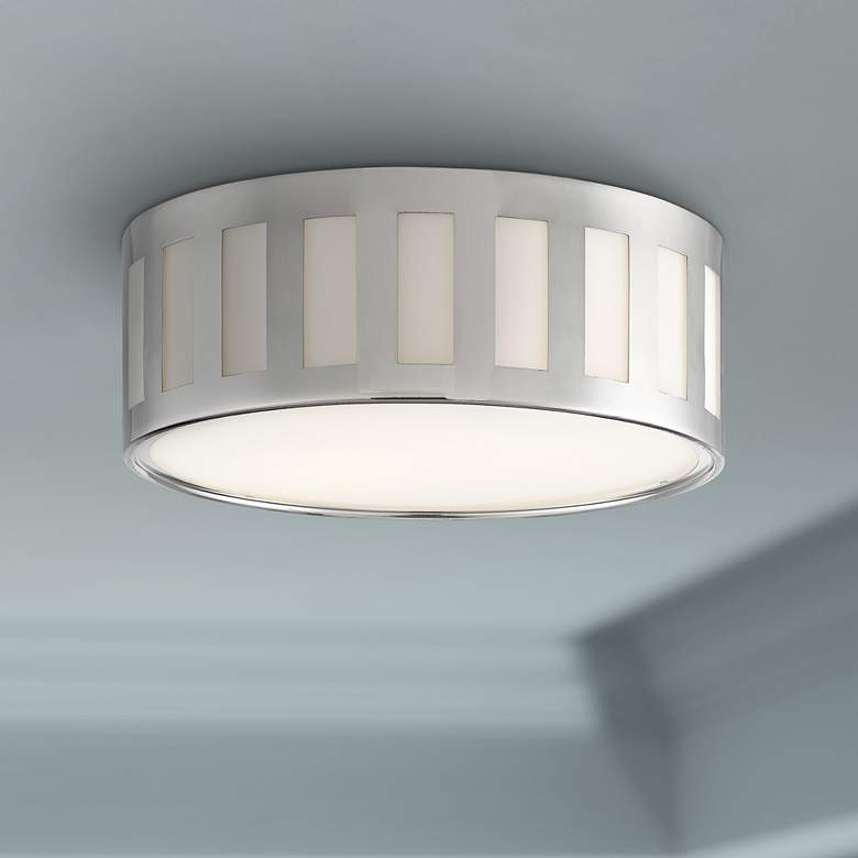 "Crystorama Kendal 14""W Polished Nickel Drum Ceiling Light"