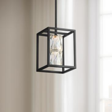 "Roxbury 6"" Wide Matte Black and Crystal LED Mini Pendant"