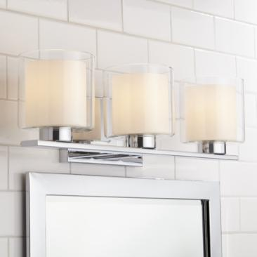 "Dorris 22""W Double Glass 3-Light Chrome Bath Light"