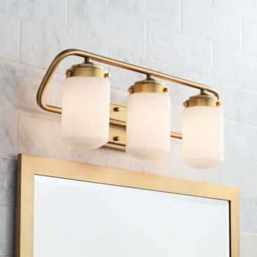 "Nichols 24""W Antique Brass 3-Light Bath Light"