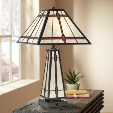 Winston Mica Farmhouse Table Lamp with LED Night Light