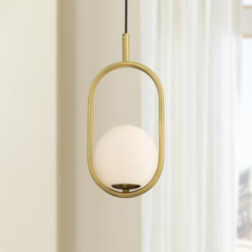 "Braxton 7 1/4"" Wide Brass and Opal Glass Mini Pendant Light"