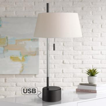 Possini Euro Braden Polished Nickel Desk Lamp with USB Port