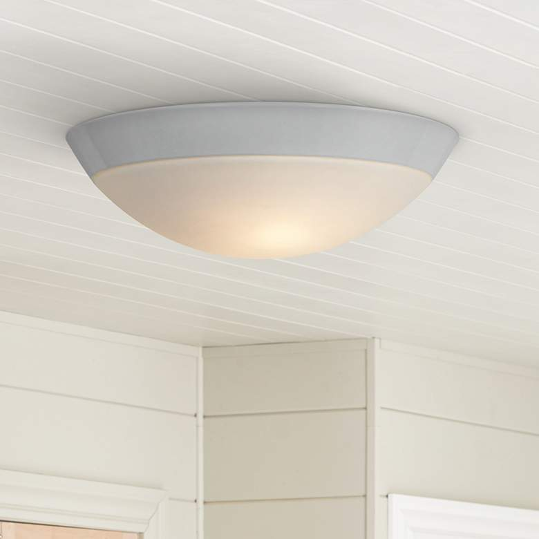 "Cobalt 13"" Wide White Metal Outdoor Ceiling Light"