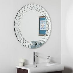 "Circles 35"" Round Frameless Bathroom Wall Mirror"