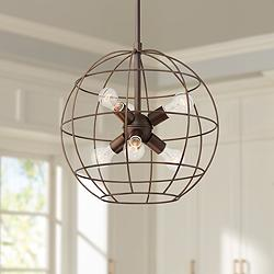 "Lansing 18"" Wide Oil-Rubbed Bronze 6-Light Orb Cage Pendant"