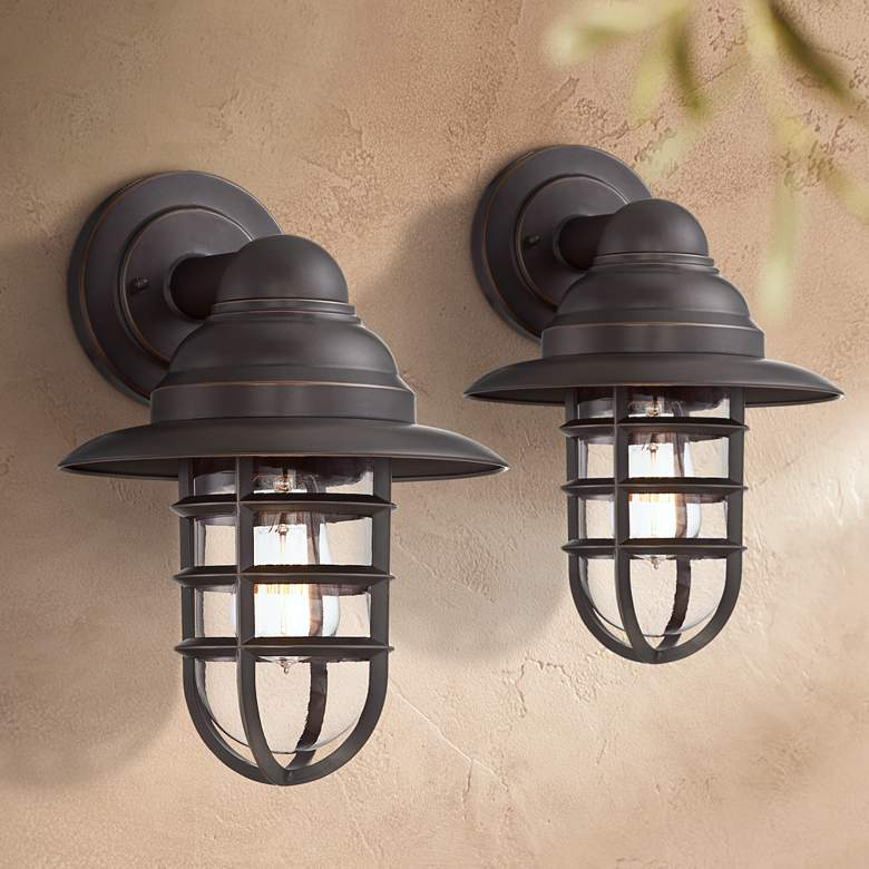 Marlowe Bronze Hooded Cage Outdoor Wall Lights Set of 2