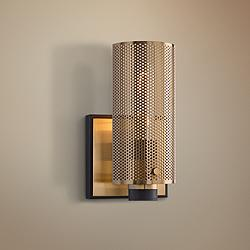 "Pilsen 8 1/2"" High Modern Bronze and Aged Brass Wall Sconce"