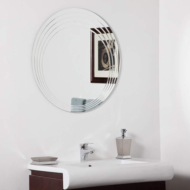 "Bryn 27 1/2"" Round Frameless Bathroom Wall Mirror"