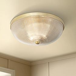"Possini Euro Caitlin 14"" Wide Gold and Glass Ceiling Light"