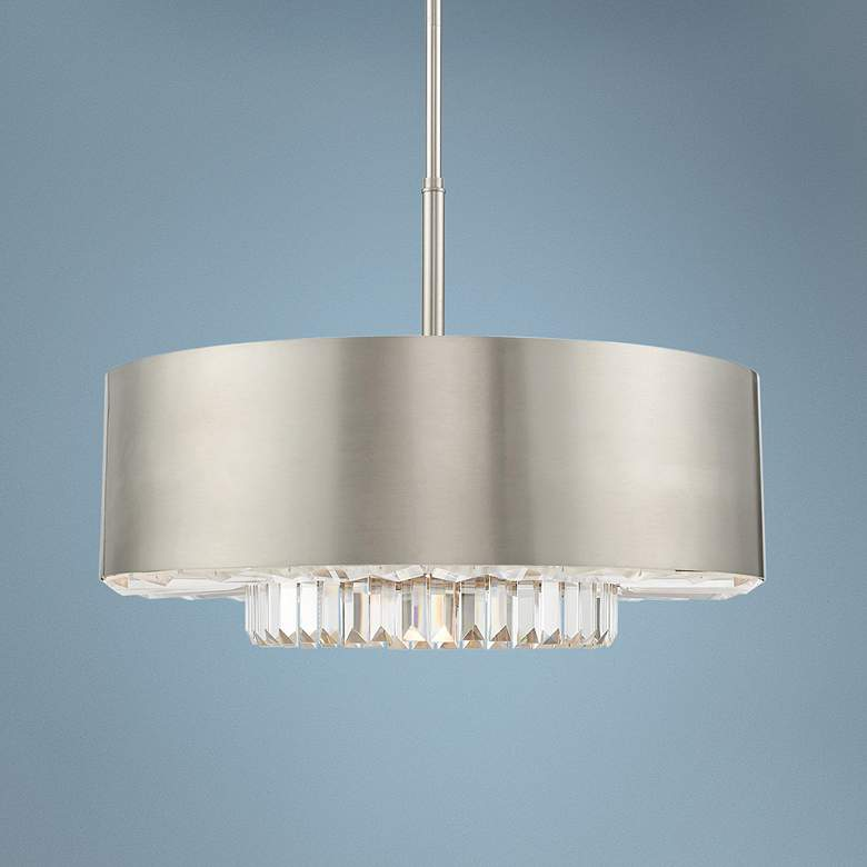 "Madison 24"" Wide Brushed Nickel Drum Pendant Light"