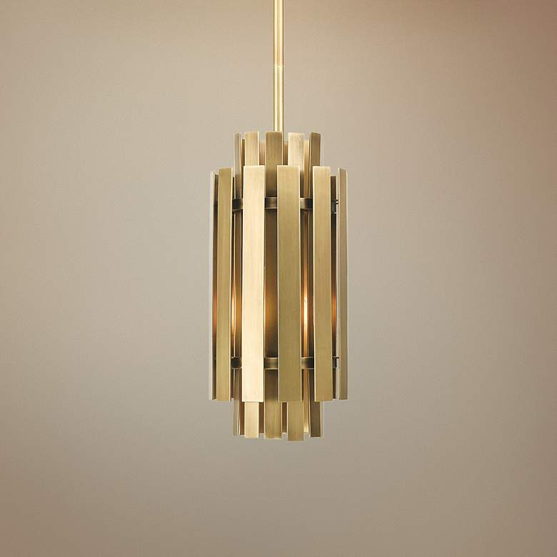 "Greenwich 6"" Wide Natural Brass Metal Mini Pendant"