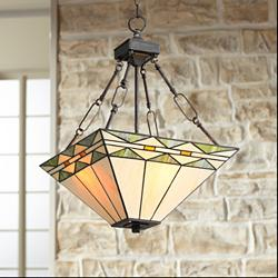 "Mission Square 16"" Wide Art Glass and Bronze Pendant Light"