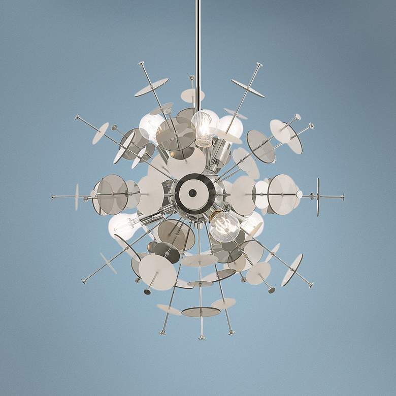 "Circulo 24"" Wide Polished Nickel Starburst Pendant Light"