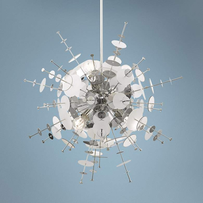 "Circulo 30"" Wide Polished Nickel Starburst Pendant Light"