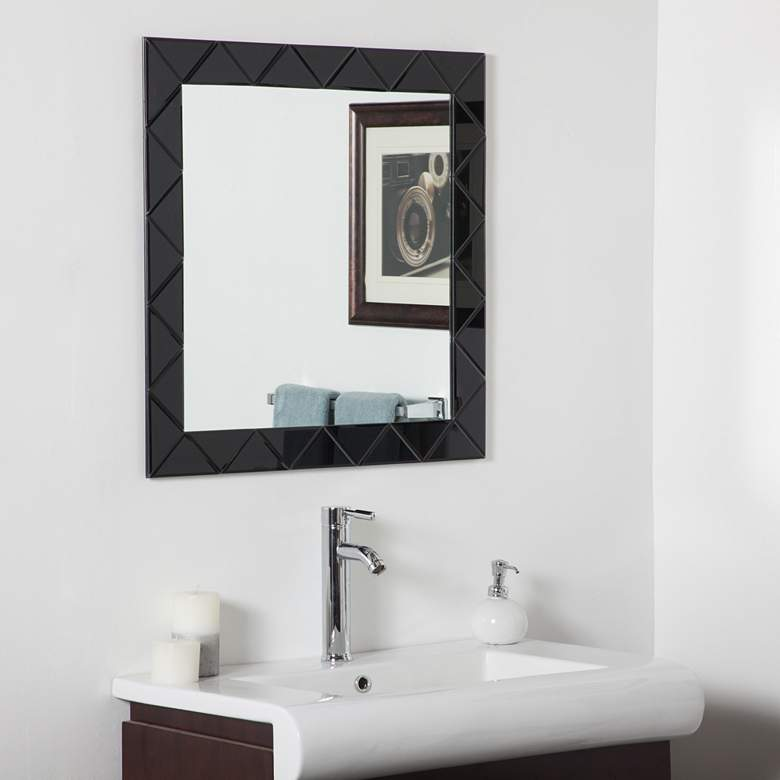 "Luciano Black 27 1/2"" Square Frameless Wall Mirror"