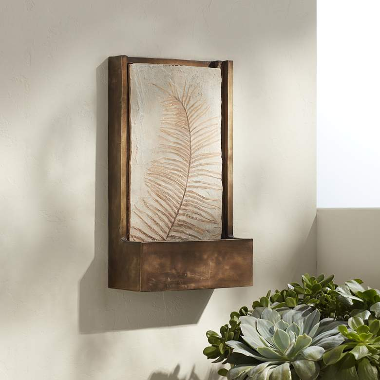 "Hayat 23"" High Bronze Leaf Wall Fountain"