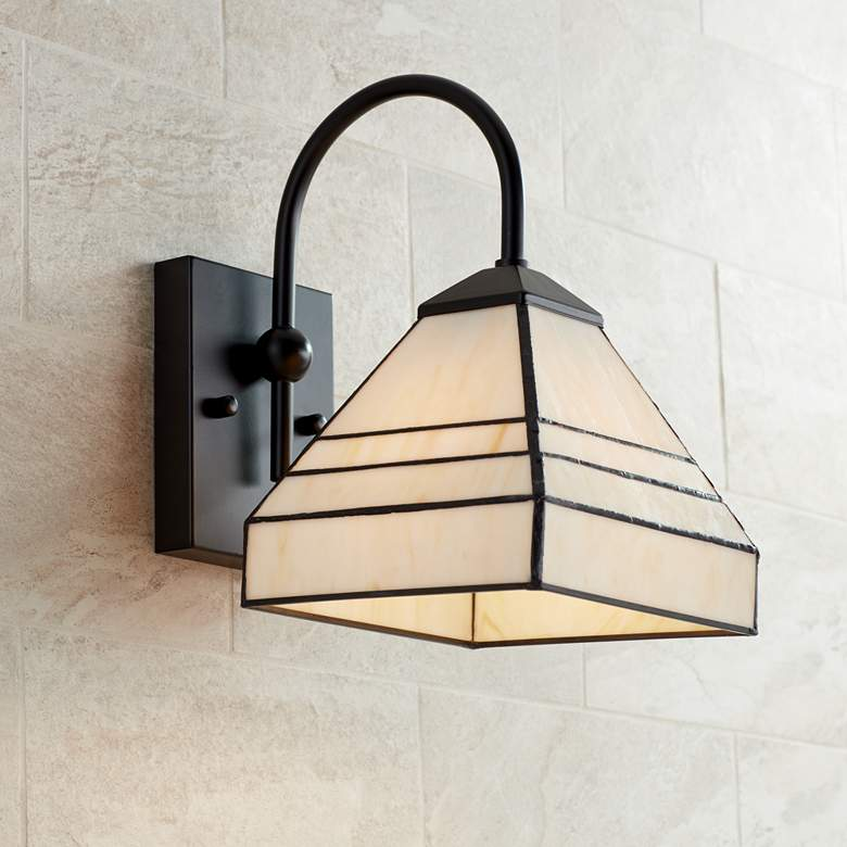 "Beauce 11 1/2""H Tiffany Style Black Wall Sconce"