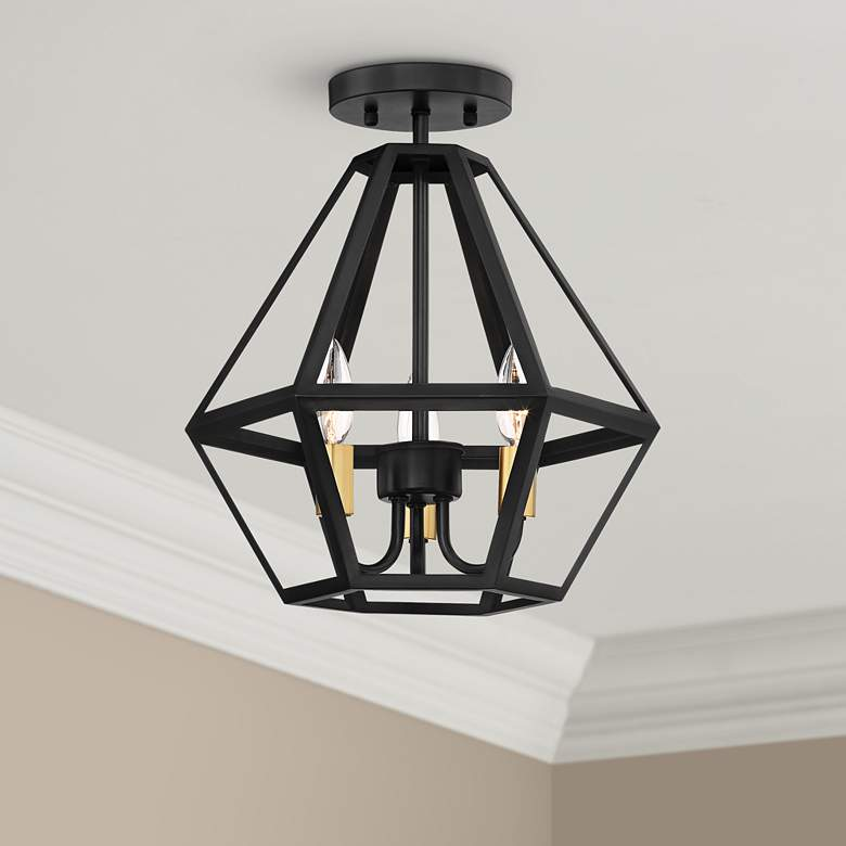 "Possini Euro Novato 13""W Geometric Black Ceiling Light"