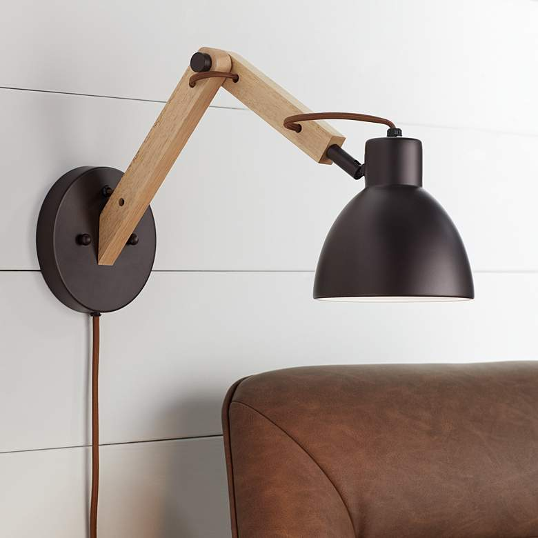 Euless Bronze and Wood Industrial Plug-In Wall Lamp
