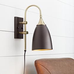 Lewes Bronze and Antique Brass Plug-In Wall Lamp