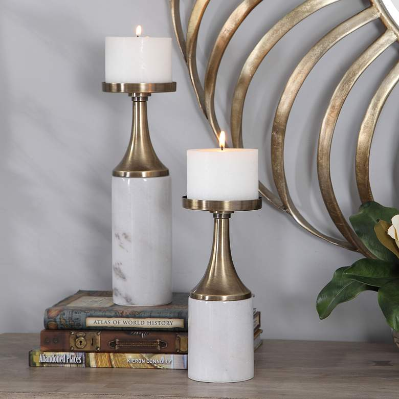Castiel White and Brass Pillar Candle Holders Set of 2