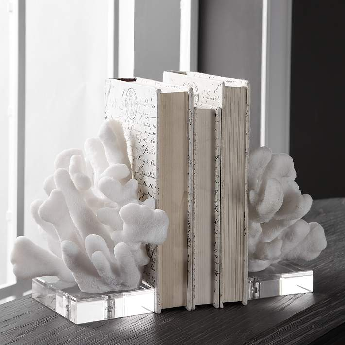 Charbel 9 High White Coral And Crystal Bookends Set 73r82 Lamps Plus
