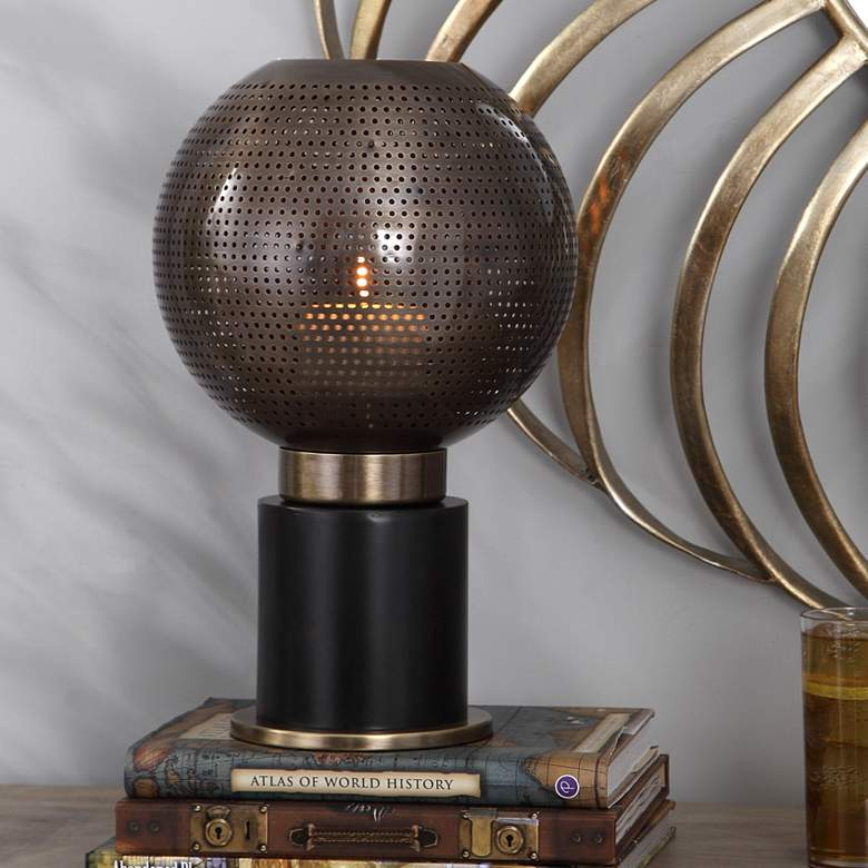"Branham 14"" High Bronze and Brass Modern Candle"