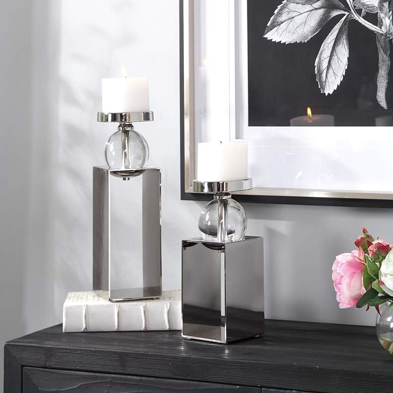 Lucian Polished Nickel Pillar Candle Holders Set of