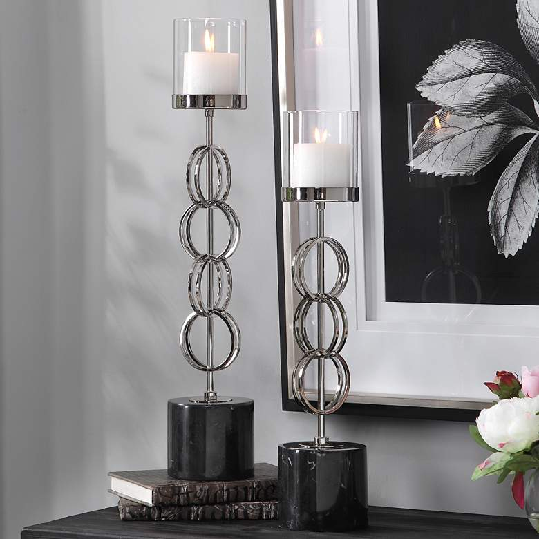 Esme Nickel Stacked Ring Pillar Candle Holders Set of 2