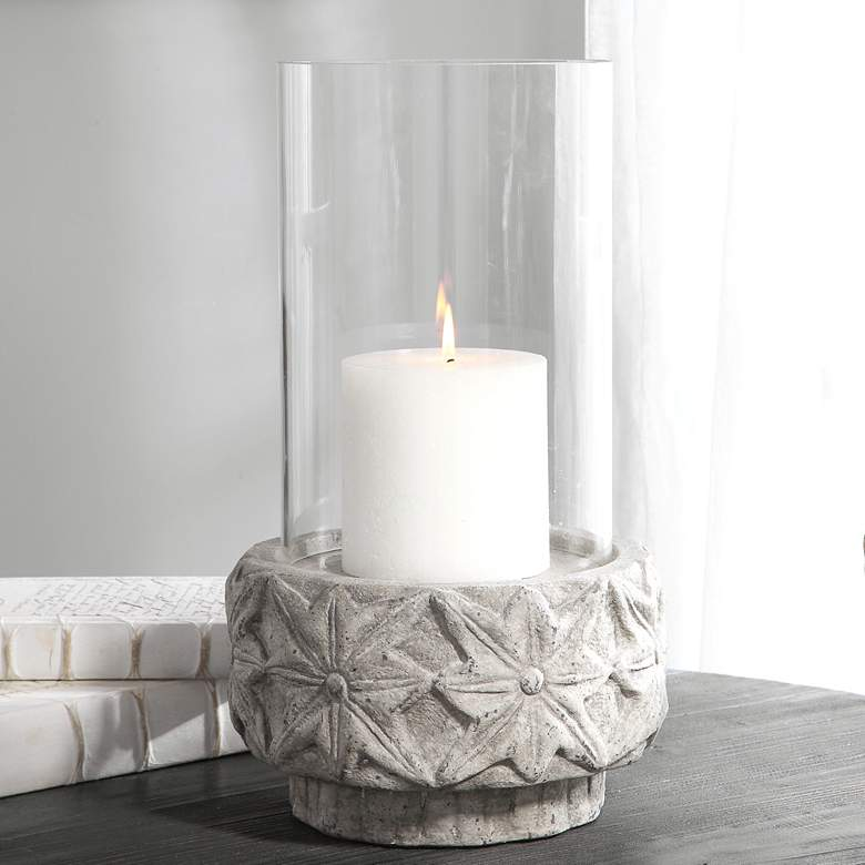"Capistrano 18"" High Gray Concrete Candle Holder by Uttermost"