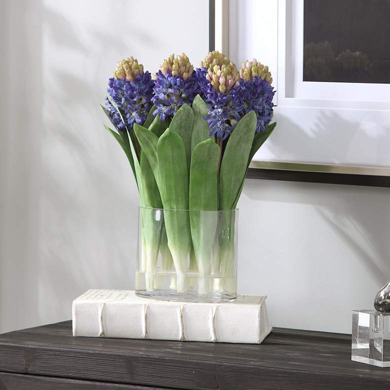 "Etta 15 1/2"" High Blue Hyacinth Bouquet Faux"