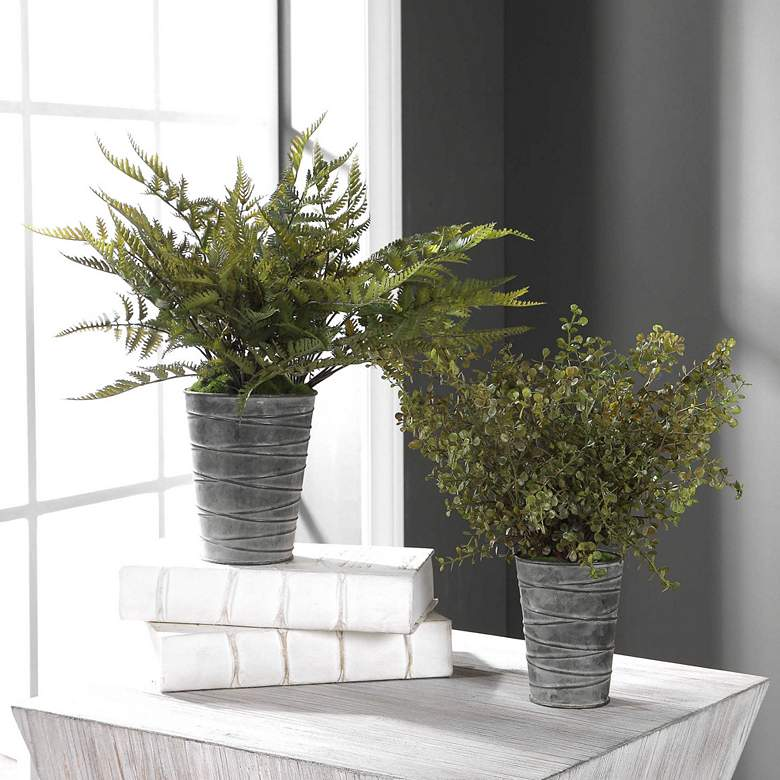 Quimby Green Fern Faux Plants in Gray Metal