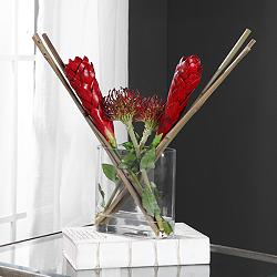 "Dracana Red Protea and Red Ginger 21""W Faux Flowers in Vase"