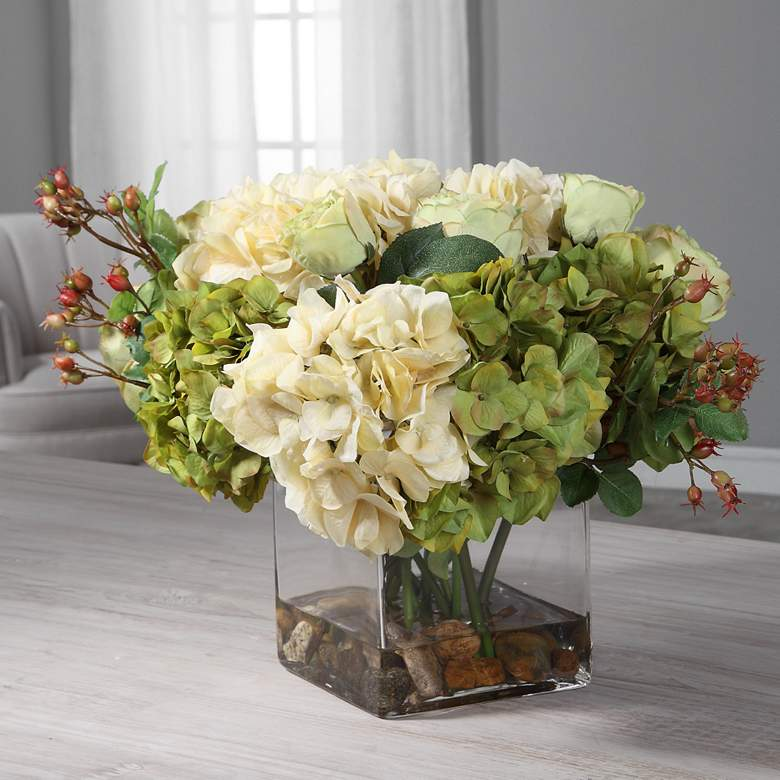 "Cecily Cream Hydrangea and Rose 15""W Faux Flowers"
