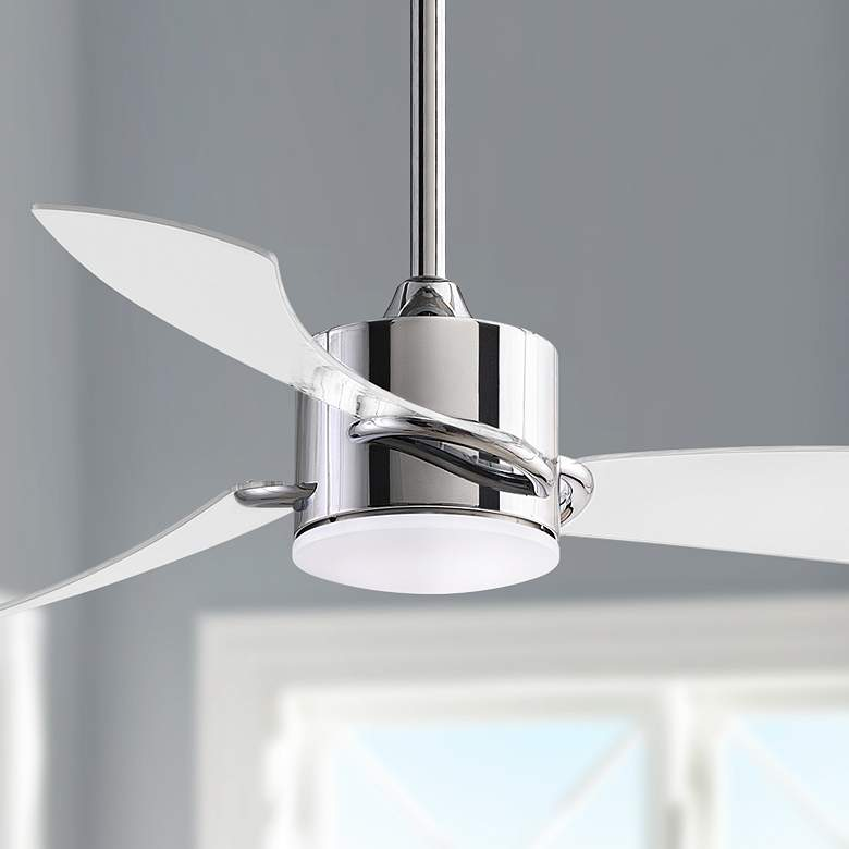 "52"" Fanimation Sculptaire Chrome LED Damp Ceiling Fan"