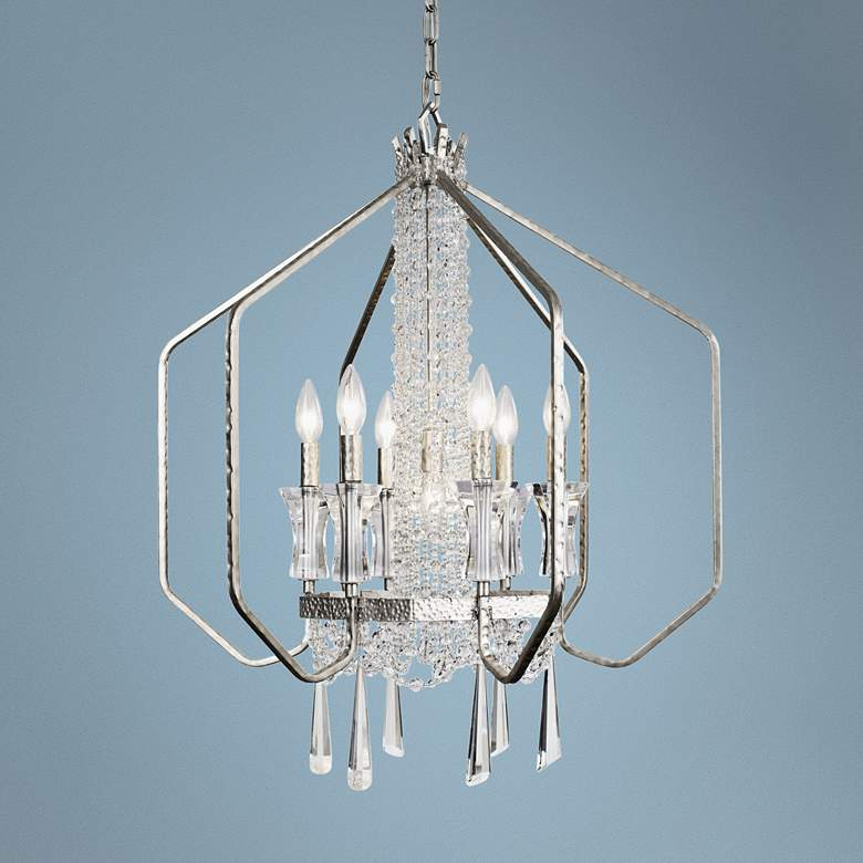 "Barcelona 26"" Wide Transcend Silver 7-Light Crystal Pendant"