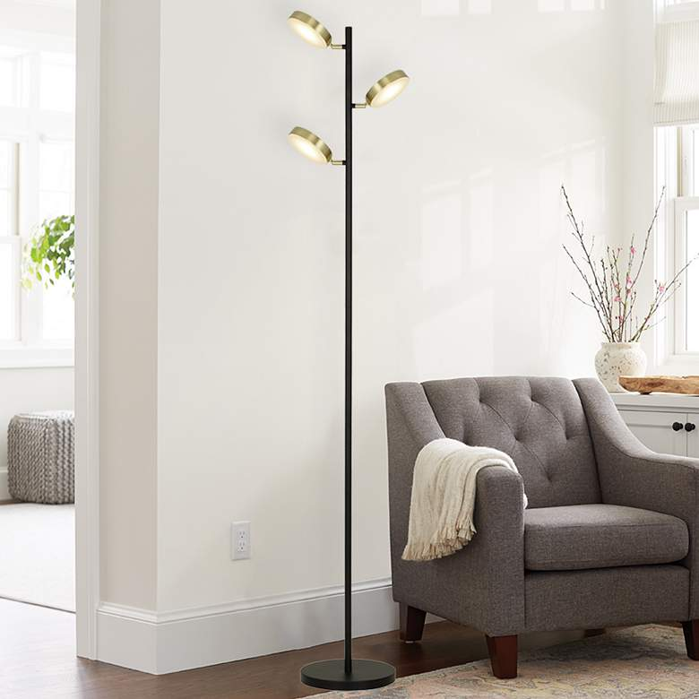 Matte Black Adjustable LED Track Tree Floor Lamp