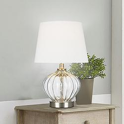 "Clear Glass 16 1/2"" High Accent Table Lamp with LED Bulb"