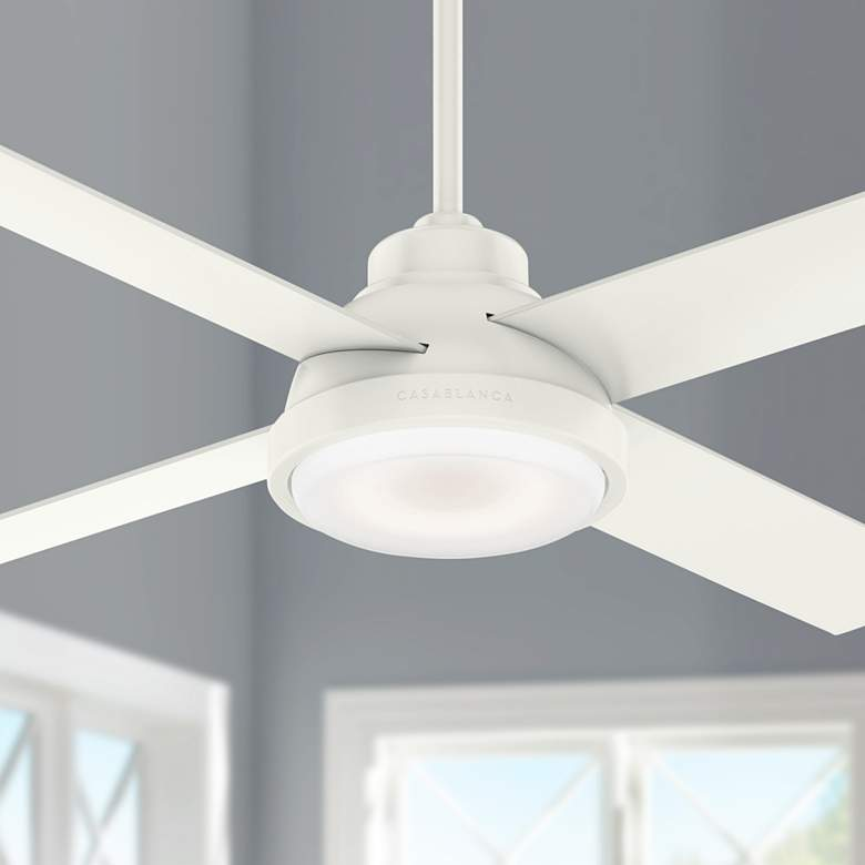 "54"" Casablanca Levitt Fresh White LED Ceiling Fan"